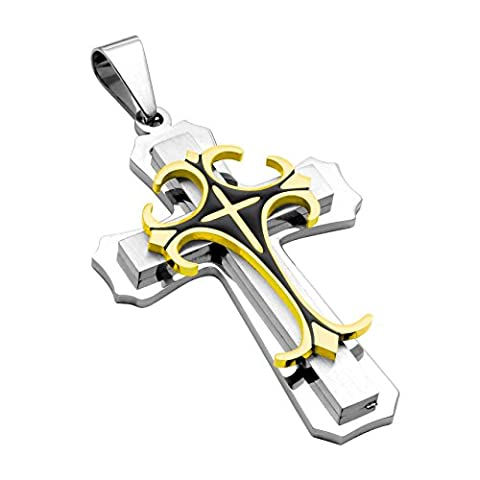 Jusnova Stainless Steel Cross Pendant Necklace for Men with 24 Inches Rope Chain 2 Colors (Gold) (Gold Cross Stainless Steel)