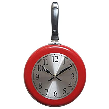 Wall Clock, 10 inch Metal Frying Pan Kitchen Wall Clock Home Decor -  Kitchen Themed Unique Wall Clock with a Screwdriver (Red)