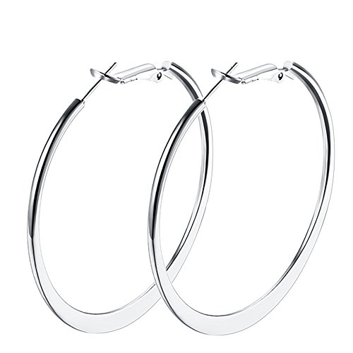 (Hoop Earrings, 18K White Gold Plated Flattende Hoops Earrings for Women Girls)