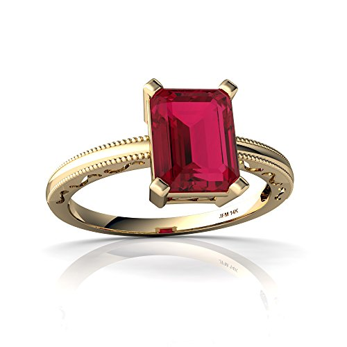 14kt Yellow Gold Lab Ruby 8x6mm Emerald_Cut Milgrain Scroll Ring - Size 7 ()