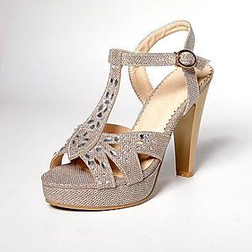 Gros Bout Chaussures Ouverta Femme Talon Sandales Paillette Plateau v6vEqI