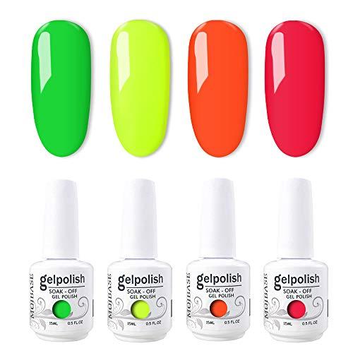 MOIBASE 4×15ml Varnish Soak Off UV Led Nail Gel Polish Nail Art Salon Bright neon Gel Nail Polish Set of 4 Color C018 (Nail Polish Set Neon Colors)