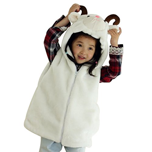 Hanstyle Cartoon Toddler/kids/child Role Play Costume Warm Hooded Animals Vest (S(3-5Y), Sheep)