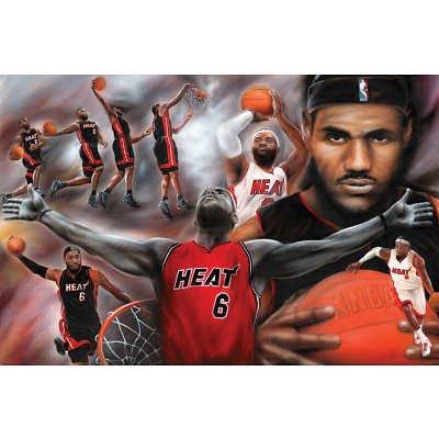 (24x36) LeBron James Collage Miami Heat NBA Sports Poster (Miami Heat James compare prices)
