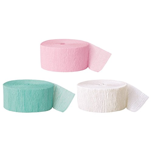 Andaz Press Crepe Paper Streamer Hanging Party Decorations Kit, 240-Feet, Pink, Seafoam Mint Green, White, 1-Pack, 3-Rolls, Easter Colored Wedding Baby Bridal Shower Birthday -