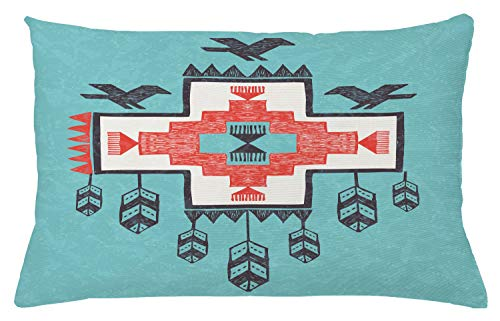 """Ambesonne Tribal Throw Pillow Cushion Cover, Hand Drawn Dreamcathcher Folkloric Birds Image, Decorative Rectangle Accent Pillow Case, 26"""" X 16"""", Teal Coral"""