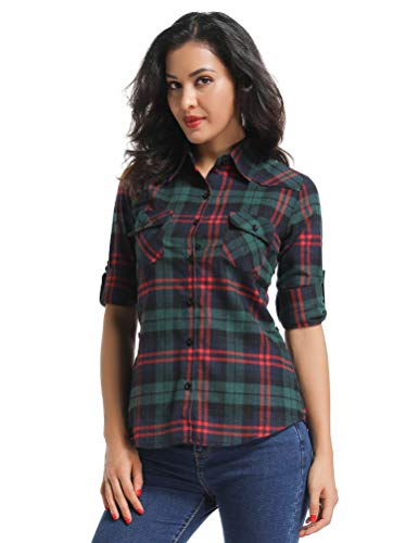 - OCHENTA Women's Long Sleeve Button Down Plaid Flannel Shirt D024 Green Red 2XL