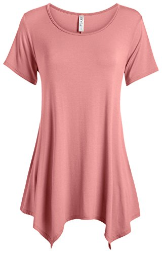(Rose Pink Tunic Tops for Women Reg and Plus Size Short Sleeve Tunic T Shirt (Size XXX-Large, Rose))