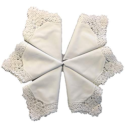 MyButterflyBasket Set of 6 Wedding Embroidery Crochet Lace Trim Handkerchief for Bride & Ladies/White, B604x6