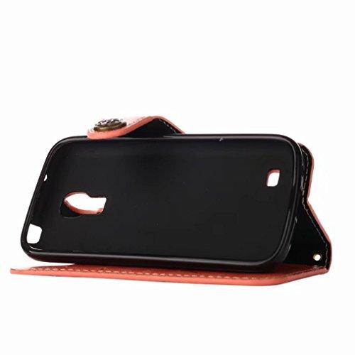 S4 Morbido Tpu I9190 Lemorry Cuoio Cover Magnetico Silicone Mini Galaxy Protettivo Samsung Portafoglio Slot Flip Borsa arancione Schede I9190 Pelle Piuttosto Rosa Per Custodia xxpRI