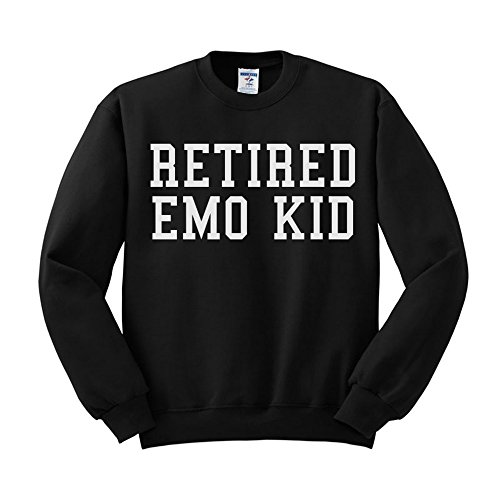 Retired Emo Kid Funny Pop Culture Sweatshirt Unisex 2X-Large Black