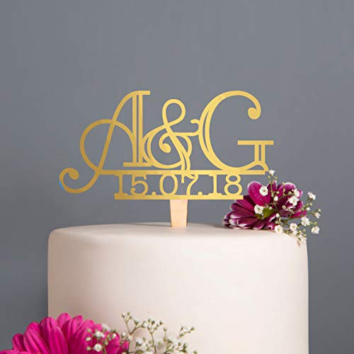 KISKISTONITE Initial And Date Art Deco Wedding Cake Topper, Personalised Cake Topper,6 inches, Bridal Shower Party Decorating Supplies ()