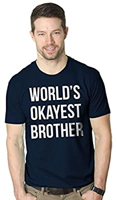 World's Okayest Brother T Shirt Funny Siblings Tee for Brothers (Navy)