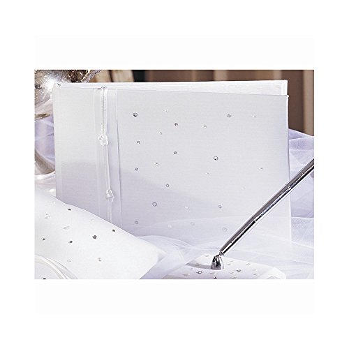 White or Ivory Celebrity Simulated Pearl and Crystal Guest Book - Perfect Wedding Gift Home Garden Living Gifts by Goldia