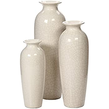 Amazon.com: Hosley Set of 3 Crackle Ivory Ceramic Vases in Gift Box ...