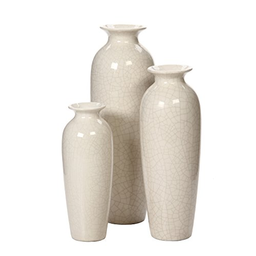 Hosley Set of 3 Crackle Ivory Ceramic Vases in Gift Box. Ideal Gift for Wedding or Special Occasions; for Use in Home Office, Decor, Floor Vases, Spa, Aromatherapy Settings (Three Vases)