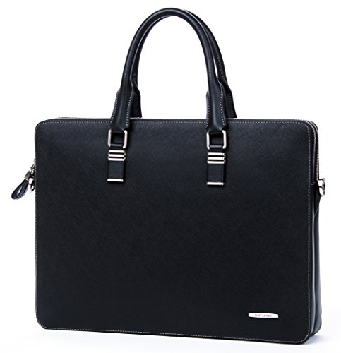 BOSTANTEN Leather Briefcase Shoulder Cross-body Laptop Business Bag for Men & Women ()
