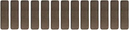 Stair Tread Treads Indoor 7 inch x 24 inch Machine Washable Skid Slip Resistant Carpet Stair Tread Treads Euro Collection (Set of 13, Cappuccino Brown) (Stair Machine Tread Clean)