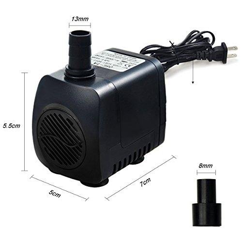 Intsun-220-GPH-800LH-15W-Submersible-Water-Pump-for-Fish-Tank-Aquarium-Fountain-Pond-Small-Silent-12-LED-Colorful-Pump-Lights-with-2-Nozzles-6-Feet-Power-Cord