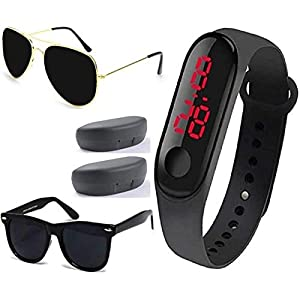 Sheomy UV Protected Aviator Unisex Sunglasses with Digital Watch (Black, 55) – Set of 3