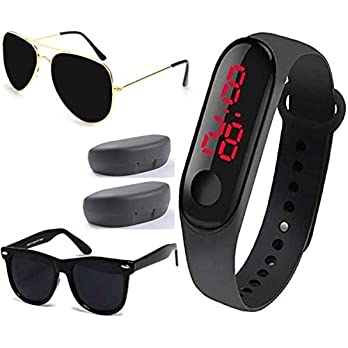 Sheomy Titanium Alloy, Cellulose Acetate UV Protect Fashion Men and Women Goggle and Sunglasses with 2 Hard Black Boxes -Combo Set of 3