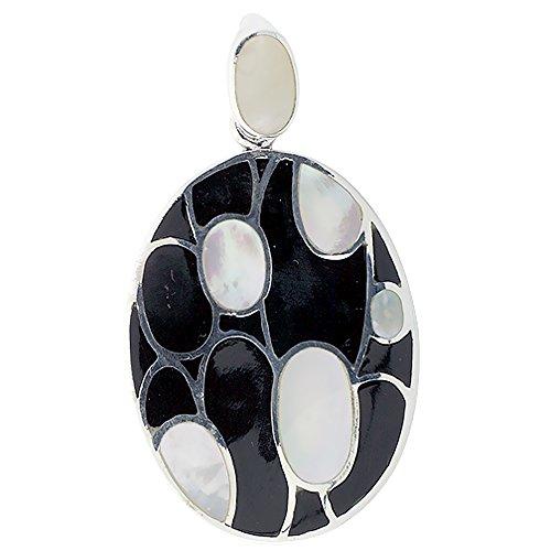 Oval Black Shell Pendant - 5