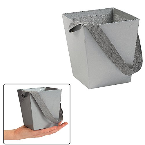 Fun Express SILVER CARDBOARD BUCKET WITH RIBBON HANDLE