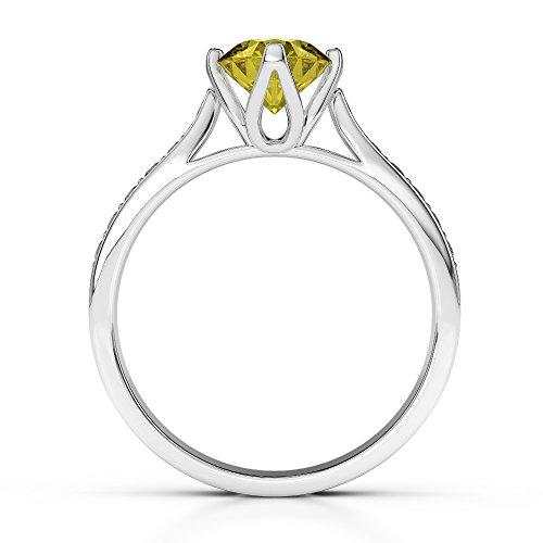 G-H/VS 1CT Coupe ronde sertie de diamants Saphir Jaune et bague de fiançailles en platine 950Agdr-1204