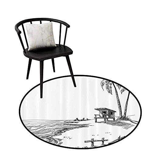 Warm Round Rug Apartment Decor Collection Can be Folded Sketched Figure of Summer Beach with Palm Trees and Lifeguard Stand Seascape Concept Black White D16(40cm)
