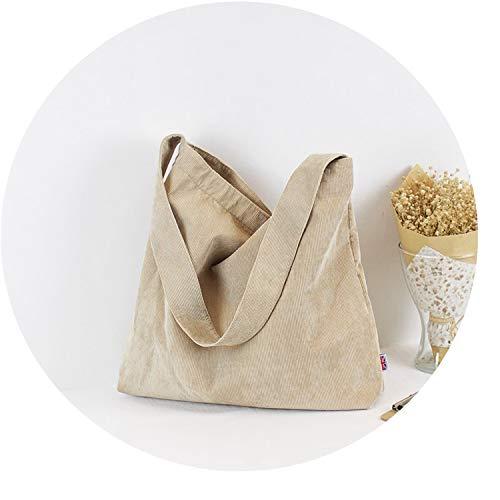 Women Vintage Corduroy Shoulder Bag Canvas Cloth Fabric Handbag Solid Casual Tote,Khaki
