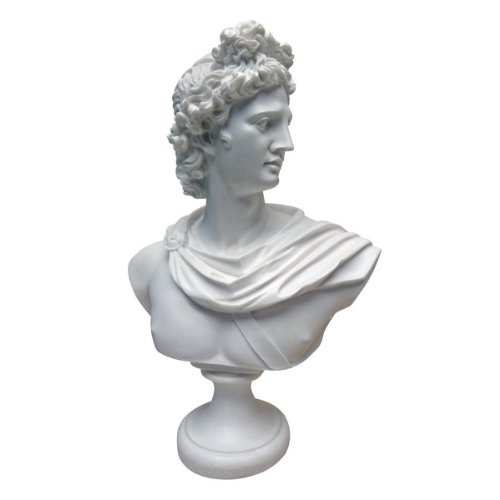 Design Toscano PD72520 Apollo Belvedere 350-325 BC Bonded Marble Resin Sculptural Bust, White (Bust Resin)