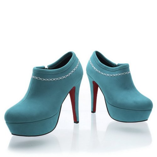 Pumps PU Cotton Blue Solid Womens High VogueZone009 Platform Heel Closed Toe Round Frosted OqWnCwaT