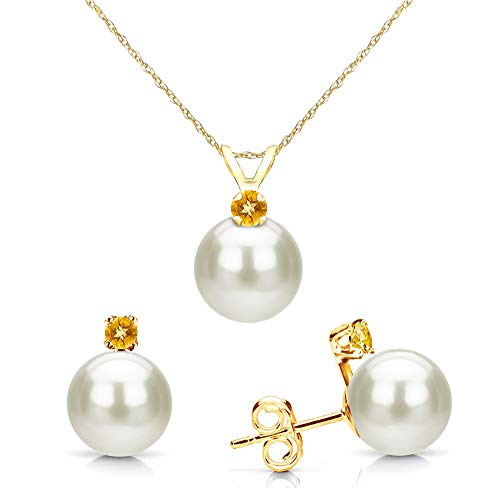 14K Yellow Gold Freshwater Cultured Pearl 7-7.5mm and Simulated Yellow Citrine Pendant and Stud Earrings Set ()