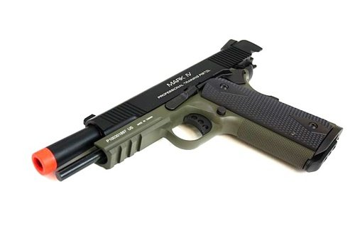 kwa metal m1911 mkiv ptp gas blowback pistol railed frame in od green + bbs bb(Airsoft Gun) by KWA