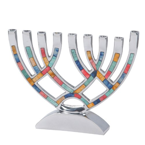 Hanukkah Menorah with Multi Colored Inlay ()