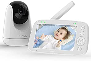 Babyphone mit Kamera, VAVA 5 Zoll Video Baby Monitor, 720P IPS HD Display, Nachtsicht, Weitwinkelobjektiv, 300M...