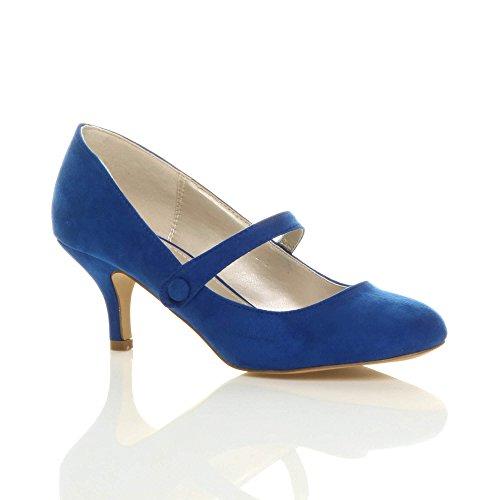 taglia Blu tacco media Scamosciata festa mary scarpe lavoro moda Cobalto elegante jane Donna di PvA4wWqq