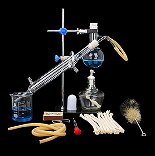 Home Distiller Distilling to Making Your Own Essential Oil, Moonshine, Alcohol Distiller Chemistry Lab Glassware Kit,Glass Distilling,Distillation Apparatus 10pcs Set, 100 ML