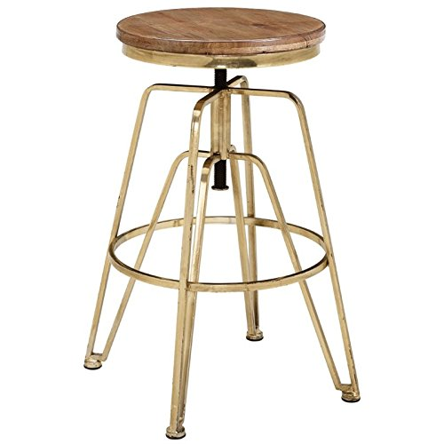- Linon Wooden and Metal Adjustable Bar Stool in Brown and Gold