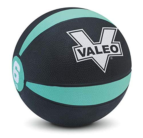 Valeo 6 lb Medicine Ball With Sturdy Rubber Construction And Textured Finish, Weight Ball Includes Exercise Wall Chart For Strength Training, Plyometric Training, Balance Training And Muscle Build