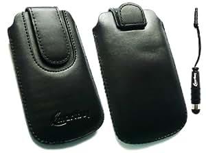 Emartbuy ® Stylus Pack Para Huawei U8180 Negro / Negro Slide Pu Cuero De Primera Calidad En Bolsa / Caja / Manga / Soporte (Medium Size) Con Mecanismo Pull Tab + Metallic Mini Negro Stylus + Protector De Pantalla