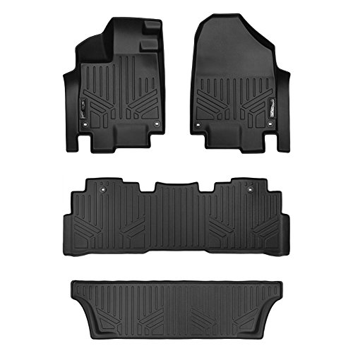 MAX LINER A0325/B0325/C0325 Custom Fit Floor Mats 3 Row Liner Set Black for 2018-2019 Honda Odyssey - All Models (Car Mats That Cover The Whole Floor)