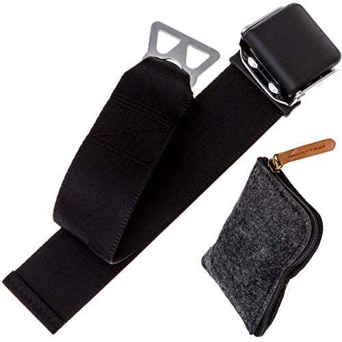 Airplane Seat Belt Extender - Type B, Southwest Airlines Compatible | with Free Zipper Pouch Bag for Storage, Travel, Carrying, Adjuster Seatbelt Clips