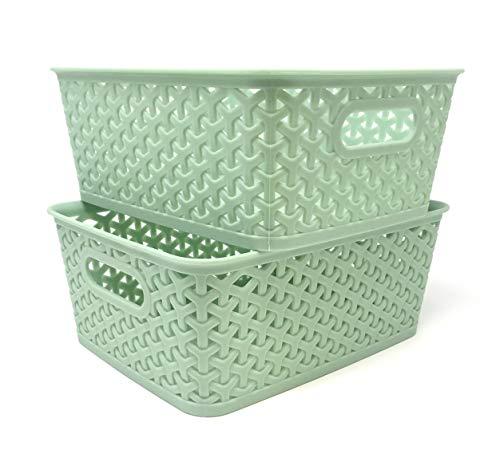 - Clever Home Basket Weave Plastic Storage Bin Set of 2 (10 x 8 x 4, Sage Green)