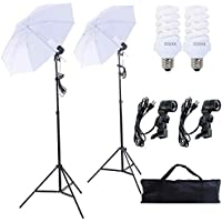 Safstar Photography and Video Day Light Umbrella Continuous Lighting Kit with Stands ( 2 white umbrellas)