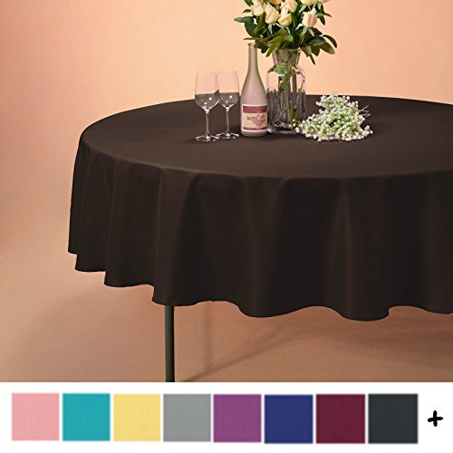 Remedios 90-inch Round Polyester Tablecloth Table Cover - Wedding Restaurant Party Banquet Decoration, Chocolate