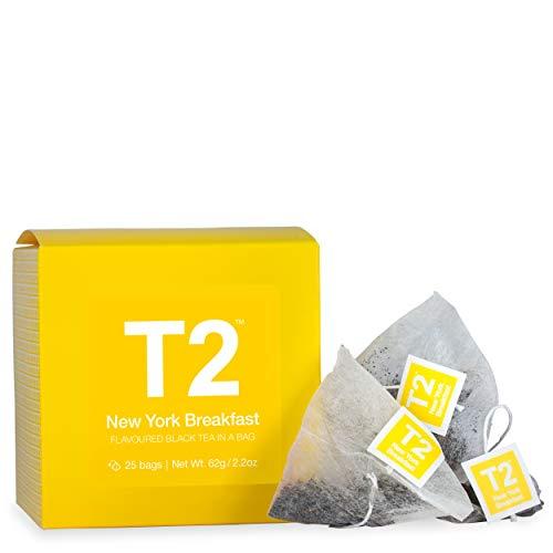 T2 Tea - New York Breakfast Black Tea in a Box, 62g (2.2oz), 25 Tea Bags