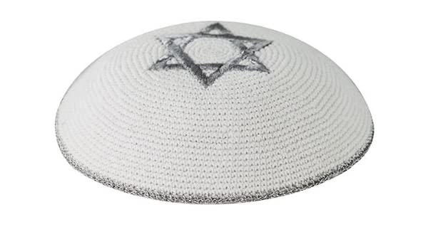 kipa for Everyday Use 6.8 inch 17 cm Supreme Quality Regno Black with Silver Star of David Knitted Kippot Kippah Yarmulke