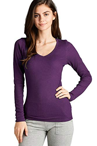 Purple Thermal - Instar Mode Women's Plain Basic Round V Neck Thermal Long Sleeves T Shirt Top Purple S