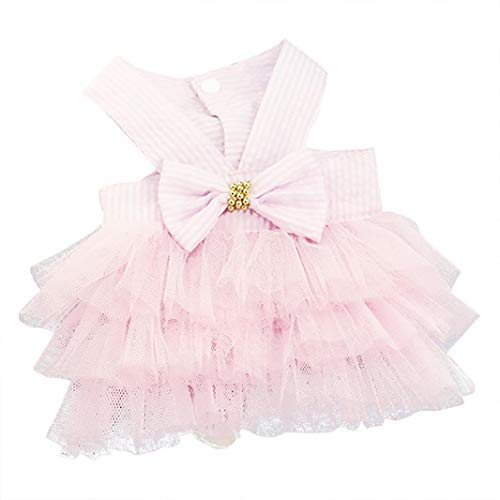 Wakeu Small Dog Girl Dress Pet Puppy Cat Lace Tutu Stripe Vest Skirt Clothes (XS, -